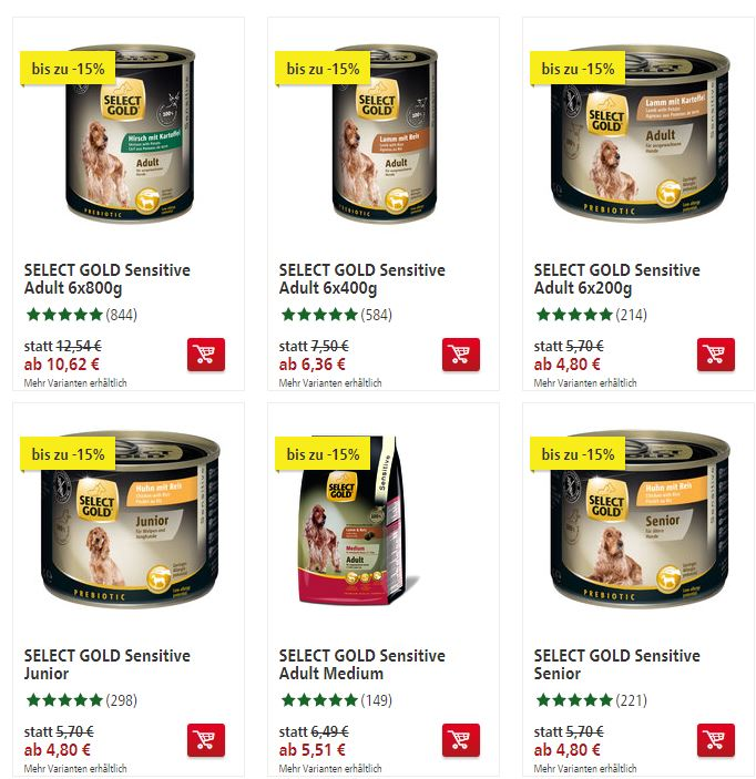 select gold hunde und katzenfutter mit bis zu 15 rabatt. Black Bedroom Furniture Sets. Home Design Ideas
