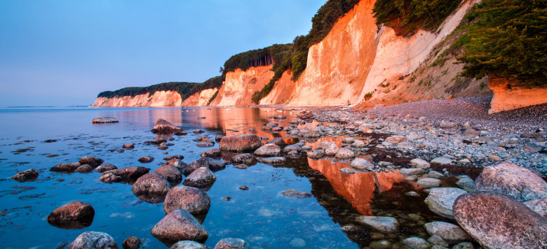 R?gen Island Chalk Cliffs in Warm Light of Rising Sun