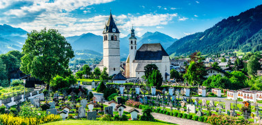 Church of our Lady (Liebfrauenkirche) in the alpine village of Kitzbuhel in the North Tirol region of Austria. Dating back to 1373, the church houses a bell renowned for its beautiful tone. Processed in AdobeRGB colorspace.