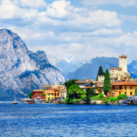 beautiful lago di Garda, north of Italy. view with castle in Mal