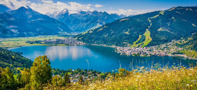 Beautiful mountain landscape in the Alps with Zeller Lake in Zell am See, Salzburger Land, Austria.